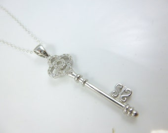 Sterling Silver Key Necklace, Cz Key, Key to my Heart Pendant, Key Pendant