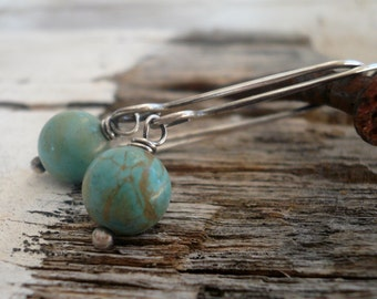Minimalist in Robin's Egg - Handmade Earrings. Turquoise, Oxidized Sterling Silver Dangle Earrings