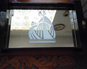 Vintage Arpege Lanvin Paris Black Lucite Acrylic Perfume Tray Vanity Tray Dresser Tray Mother Child Logo