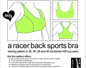 NEW! Sports Bra Sewing Pattern - All Sizes. One Price. Digital Download. PDF.