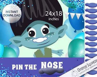 INSTANT DOWNLOAD Pin the Nose on the Troll - Birthday, Pin the Tail, 24x18 Game Poster, Instant Download, Branch, Trolls party game