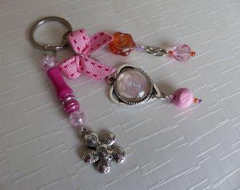 Keyring or bag girly pink