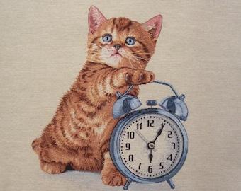 Coupon fabric Panel tapestry kitten blue alarm clock