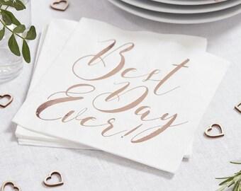 Napkins | Rose Gold Foil Napkins | Rose Gold Wedding Napkins | Rose Gold | Best Day Ever Napkins | Wedding Decorations | 20 Per Pack