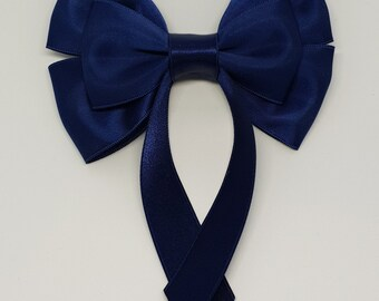 Dark Blue Swallow Tail Hair Bow