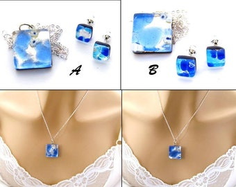 Blue Murano Necklace, Genuine Venetian Earrings and Art Glass Necklace, Murano Glass Necklace and Studs, Pendant Necklace, Venetian Necklace