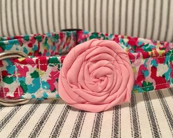 Handmade Lily Speckle Fabric Dog Collar