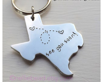 Long Distance Relationship Keychain, Texas Keychain - Long Distance Keychain - State Keychain - Texas State Keychain - Stainless Steel