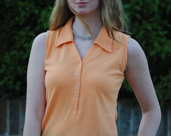 90s does 70s Vintage Button Up Summer Top with Collar