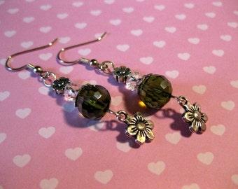 Fresh Meadow - Flower Clear Olive Green Crystal Beaded Dangle Earrings