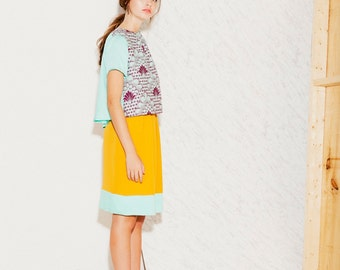 Women Skirt Color block Saffron Yellow and Turquoise ((ON SALE))