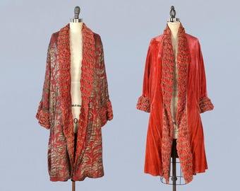 RESERVED --1920s Coat / 20s REVERSIBLE Metallic Lamé Coat / Rust Velvet / Flapper / Opera Coat / BIRDS and Floral