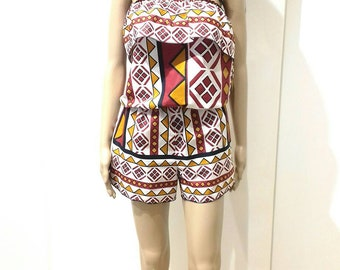 Jumpsuit Short fabric African print Africa cotton print Africa with elastic and beautiful spring from sea and original beach new News