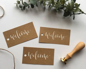 Set of 10 Welcome Gift Tags, Handwritten Calligraphy Tags, Wedding Welcome Tags, Event Welcome Tags, Kraft Tags