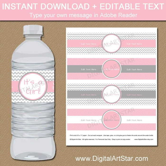 Chevron Water Bottle Labels Printable Baby Shower Water