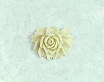 Cream Rose Cabochon Large Rose Cabochon Cream Flower Cabochon Light Beige Cabochon Large Flower Cabochon