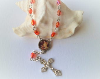 Rosary of car Tenner Bohemian crystal red alloy silver lobster clasp for the Retro 14 mm guardian angel Medal