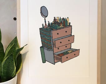 Messy Dresser Print - Hand Pulled Screen Print