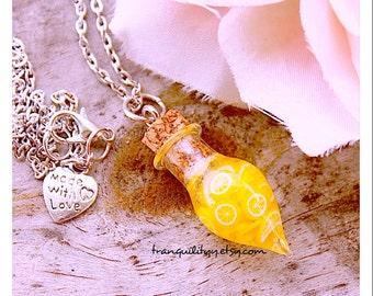 Lemonade Bottle  Necklace , Lemonade Teardrop Bottle Necklace, handmade By: Von'Dez Redman