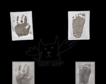 Boutons de manchette en argent personnalisés de dessins de votre enfant, cadeau pour lui, bijoux imprimé à la main, du pied impression bijoux, boutons de manchette unique