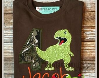 Boy's Birthday T-Rex Dinosaur Camo Brown Top with Monogram Sizes 12M, 18M, 2T, 3T, 4T, 5T, 6