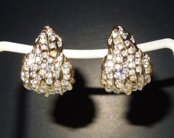 Saks Fifth Avenue Gold & Crystal Leaf/Flame Clip Drop Earrings copyright Norma Jean
