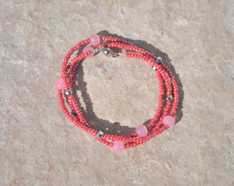 triple pink and silver bracelet