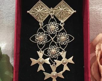"Spectacular Antique Vintage NORWEGIAN Solid ""830"" SILVER Ornate Filigree Brooch-Solje Wedding Brooch/Pin-Beautiful Light GOLD Vermeil Finish"