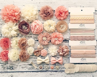 DIY Baby Headband Making Kit - Peach, Beige, Ivory, Champagne Collection - MAKES 20+ HEADBANDS! Shabby Chic & Glam Flower Headbands - HK100