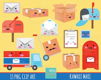 50% SALE MAIL clipart, post office clipart, kawaii clipart, happy mail/delivery clipart, commercial use, package/box/planner accesories