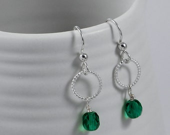 Silver Dangle Earrings with a Czech Glass Bead Drop, Available in a Variety of Colors