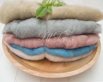 Set  A of 5 mini wool, Fluffy Wool, Posing blanket, Wool layer, Felt Basket Filler, Photography Prop, Feltfur,  RTS prop