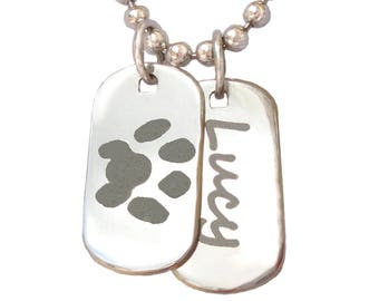 Custom Paw Print Necklace |Your Unique Paw Print |Cat Dog Pet Lover Gift | Silver Paw Print Personalized Jewelry| Dog Cat Paw Print and Name