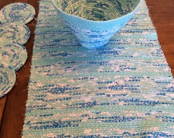 Handwoven Table Runner with Matching Bowl and Four Coasters