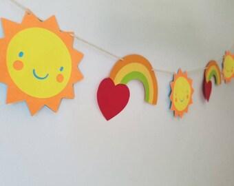 Rainbows and sunshine garland. Rainbow nursery decor, rainbow babyshower decor, rainbow birthday banner, girls birthday banner,summer banner