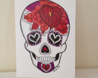 Valentine skull card etsy lover lee skull greeting card day of the dead cinco de mayo m4hsunfo
