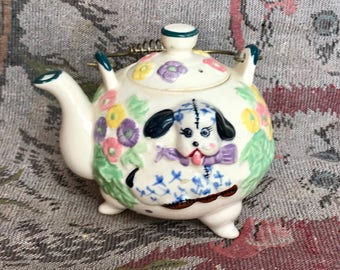 Vintage DAVAR Novelty Tea Pot Embossed Calico Puppy Flowers Birdhouse Wire Handle