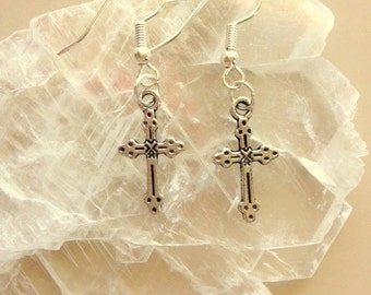 Tibetan Silver Cross Earrings - Small Silver Cross Earrings