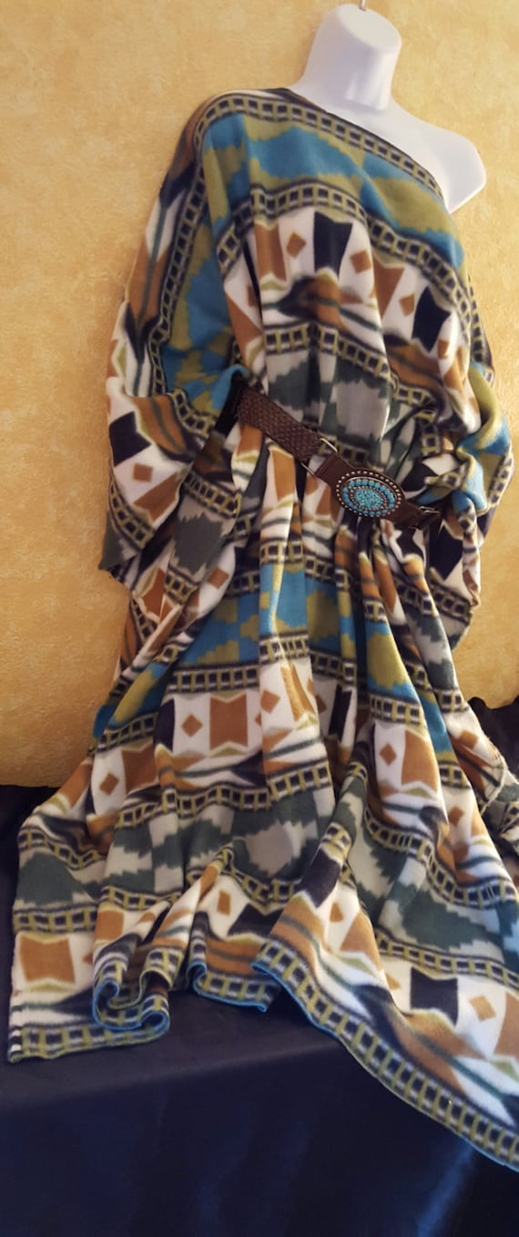 Southwestern American Maxi Turquoise Coat White Native Fleece Green Poncho Camel Inspired d5UdzOn