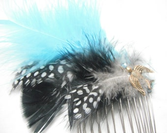 Steampunk Feathered Comb- Smooth Sailing and Blue Skies C11