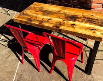 BYGGJA - Industrial Chic Reclaimed Wood Hand Made Table. Cafe Bar Restaurant. Custom Made To Order.