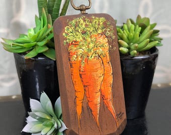 Hand Painted Signed Carrots on Wood