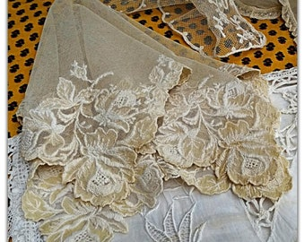 Large 19th French Bride Handkerchief Handmade Beige Tulle Cotton Tissue Roses Hand Embroidered #sophieladydeparis