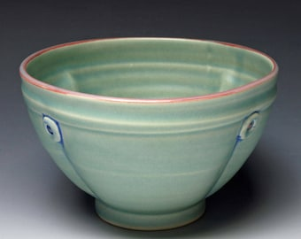 Green Button Soup Bowl, Ceramic Cereal Bowl
