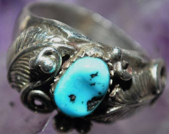 925 Sterling and Turquoise Floral Ring - 0034