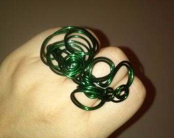 Green wire ring,Unique handmade ring,wire wrapped green ring,abstract wire ring,steampunk ring,statement ring,adjustable ring by magyartist