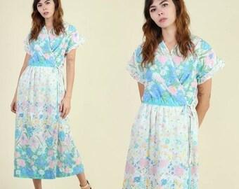 SALE SALE SALE vintage 80s 70s Botanical + Floral hippie Wrap dress / pastel border print boho maxi day sun dress 1970s 80s 1980s