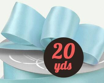 "Satin Light Baby Blue Ribbon - 7/8"" wide at 20 yards"