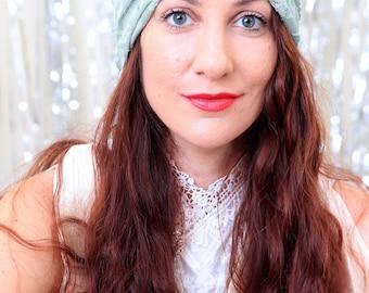Lace Turban Headwrap in Celadon Green - Women's Fashion Turban - Summer Hair Turbans for Women