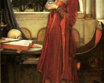 The Crystal Ball Fashion Girl by John William Waterhouse Fine Art Poster Repro FREE SHIPPING